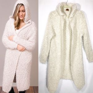 POL Mohair Knitted Cream Hooded Cardigan Duster